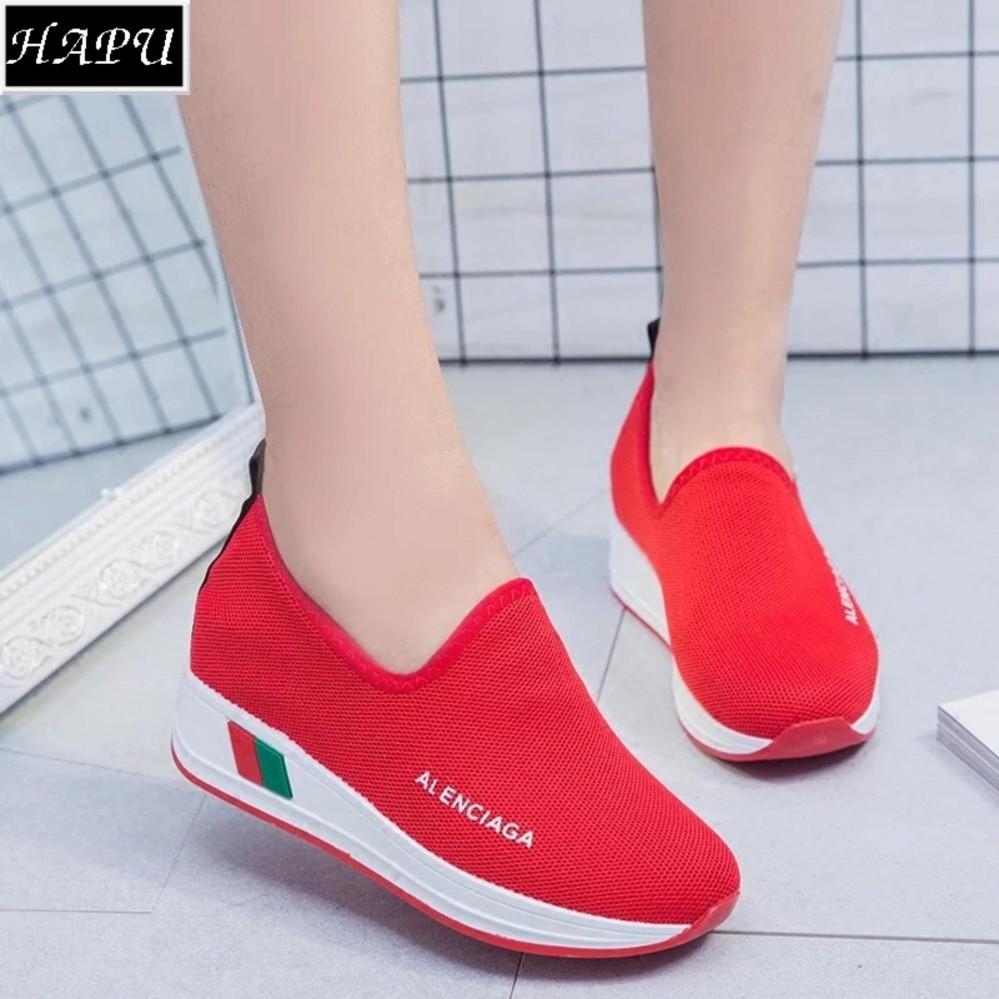 Giày lười nữ độn đế LENCIA – HAPU – DLA01 (đỏ)