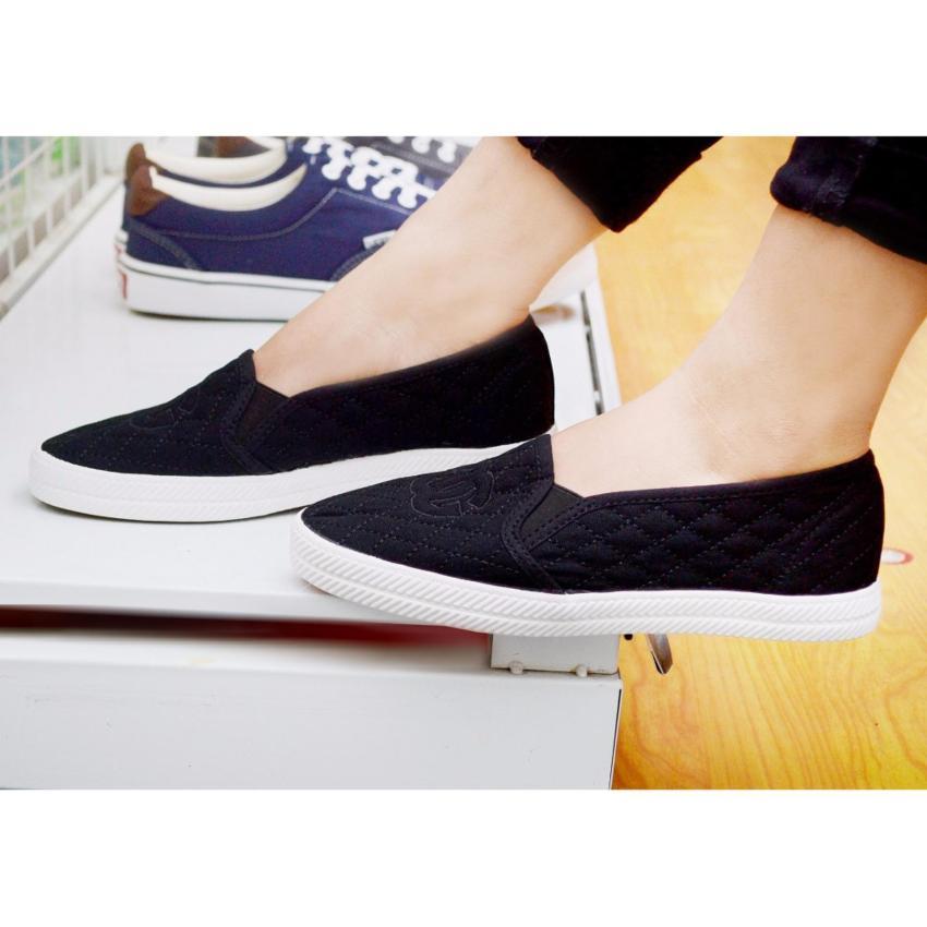 Hình ảnh Giày lười nữ trần chỉ móc G - GiayKS - GG003 (trắng)