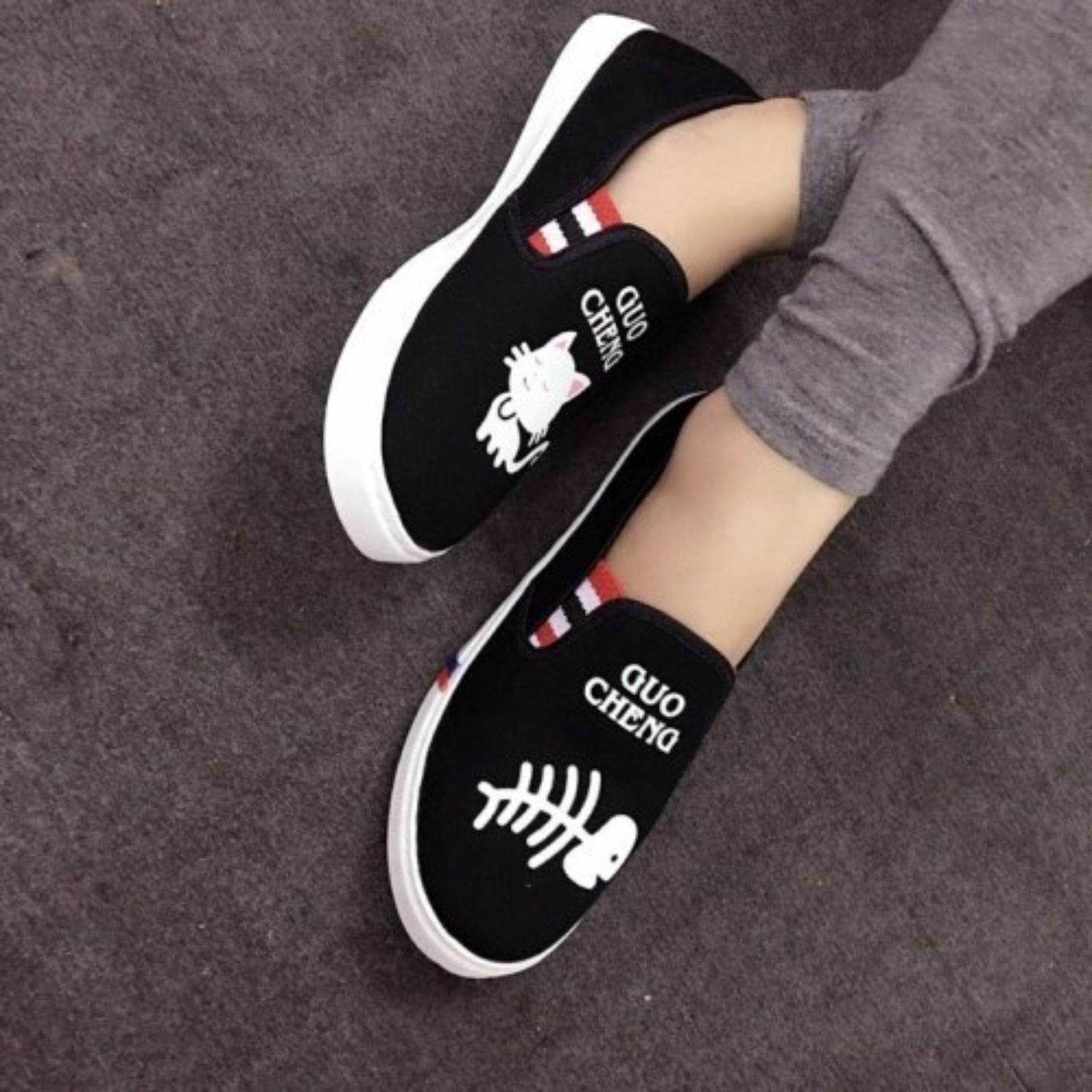 Giày lười slip on mèo cá thời trang – đen