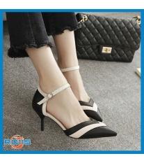 Giày cao gót nữ đẹp đế nhọn hàng hiệu Rosata-mũi nhọn cách điệu chữ V RO115