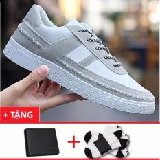 Giày nam cổ ngắn họa tiết chỉ dọc thân giày+1 ví nam+2 đôi tất khử mùi 9501TR