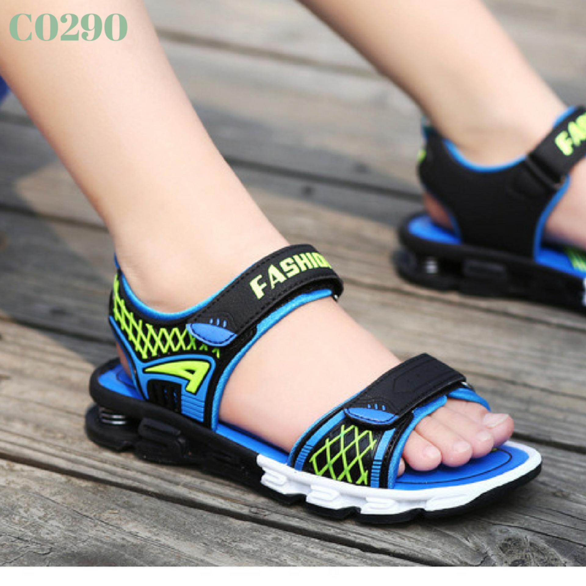Giày sandal bé trai lò xo cực êm – xanh