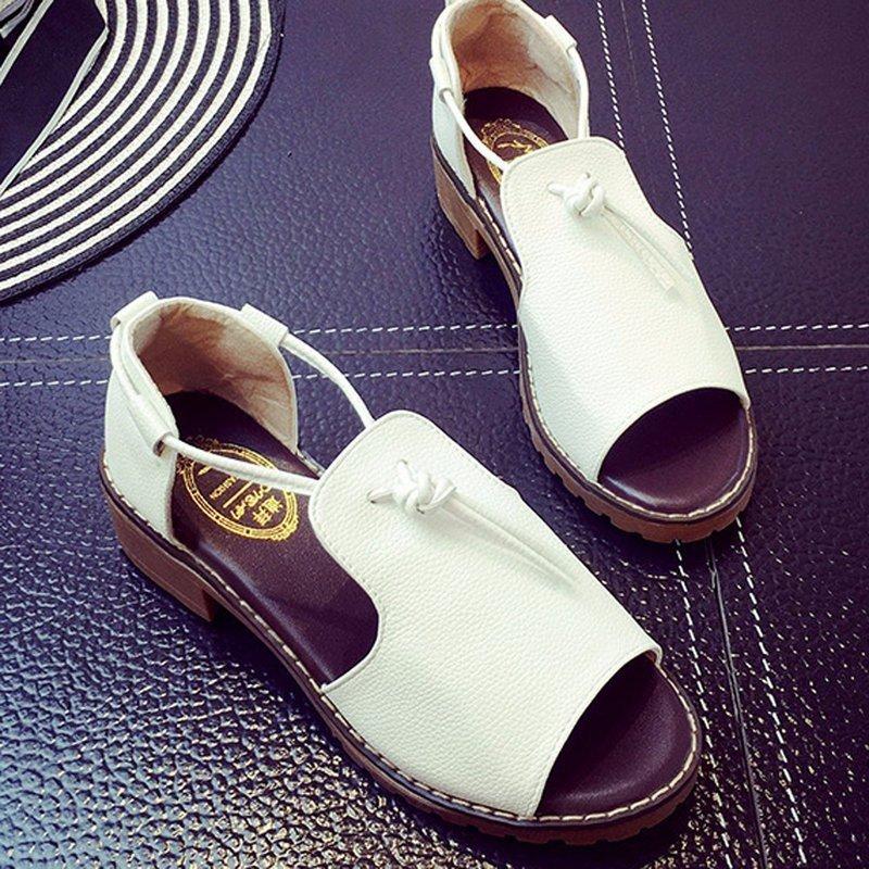 Giày sandal đế vuông dây cột da GF52010249