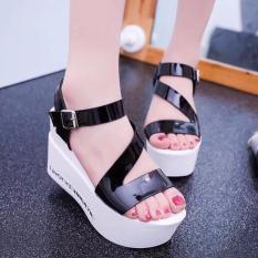 Giày sandal đế xuồng ( đen )