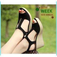 giày sandal đế xuồng phối khóa kéo hở gót.