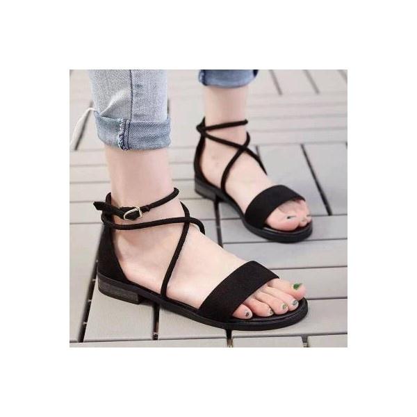 Giày sandal MYS nhung ngang dây chéo cổ chân-màu đen
