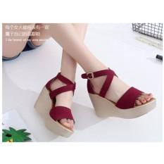 Giày sandal ngang chéo cổ chân xuồng 9p – ĐỎ
