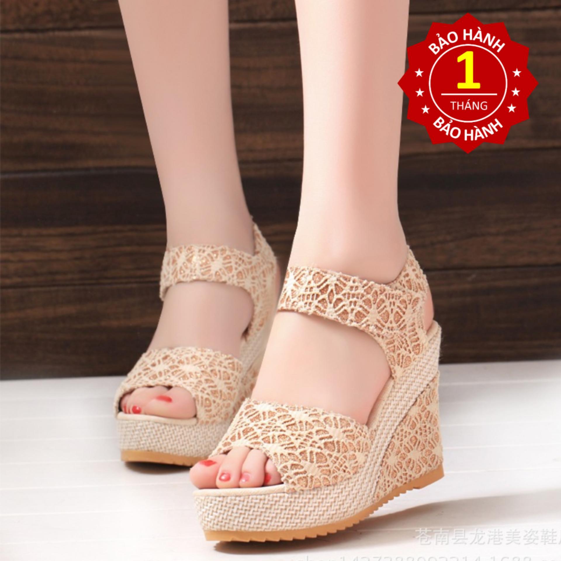 Giày Sandal nữ đế xuồng 10cm kim tuyến ren lưới (màu kem)