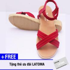 Giày Sandal nữ quai chéo cao cấp Latoma TA0201 (Đỏ)+ Tặng kèm thẻ ưu đãi Latoma