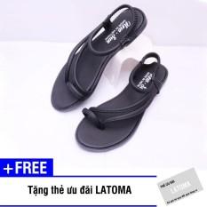 Giày sandal nữ xỏ ngón thời trang cao cấp Latoma TA0881(Đen)+ Tặng kèm thẻ ưu đãi Latoma