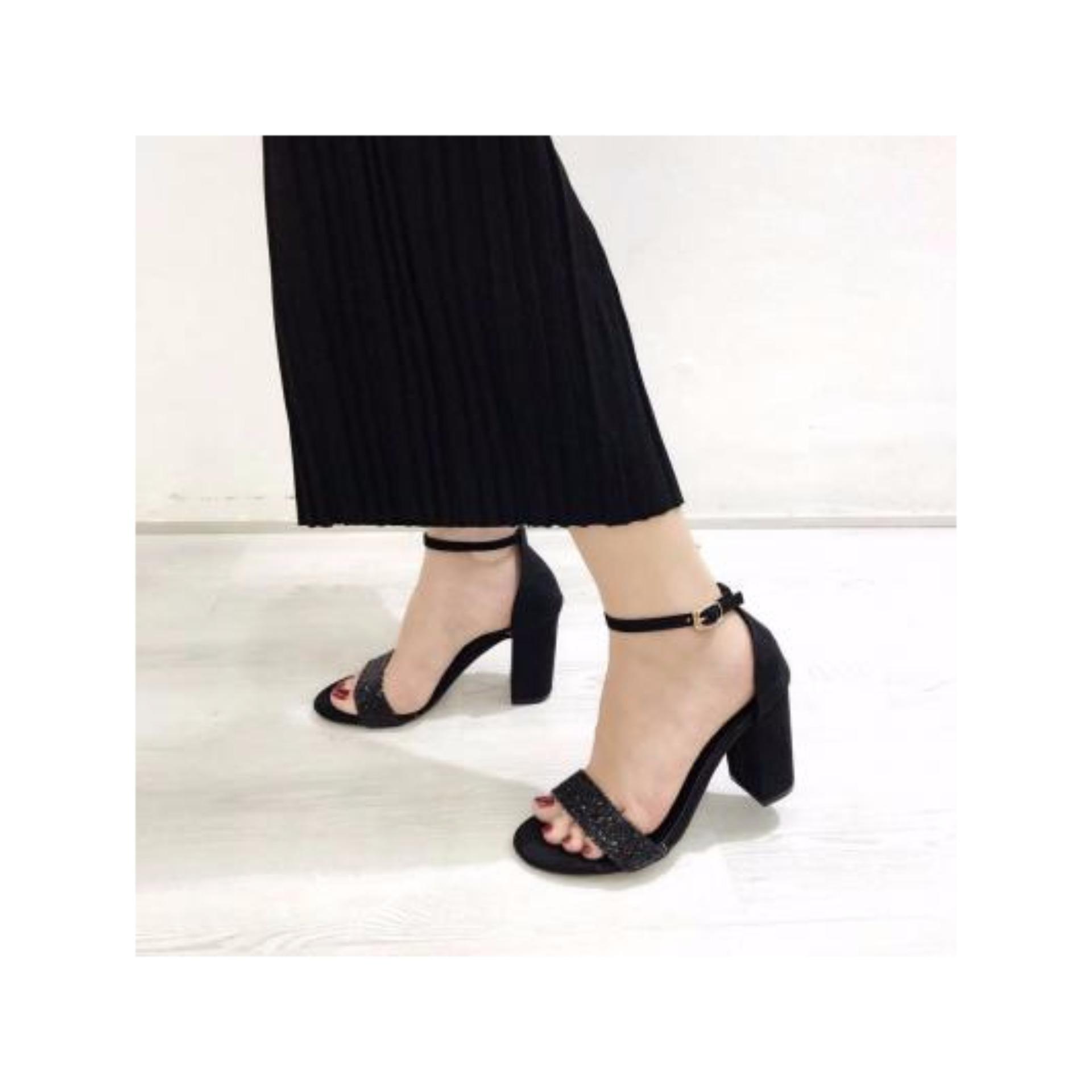 Giày sandal quai ngang 7p kim tuyến – Đen