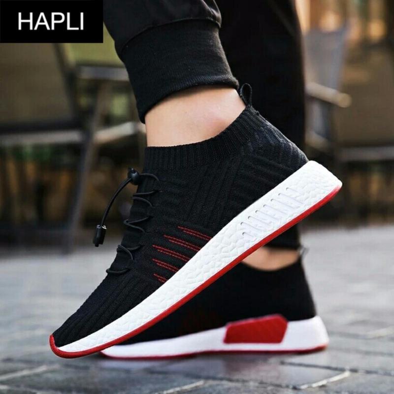 Giày sneaker nam cổ chun SIÊU HOT, cột dây trang trí kiểu HÀN QUỐC HAPLI - NewNMD06 (đen vạch đỏ)