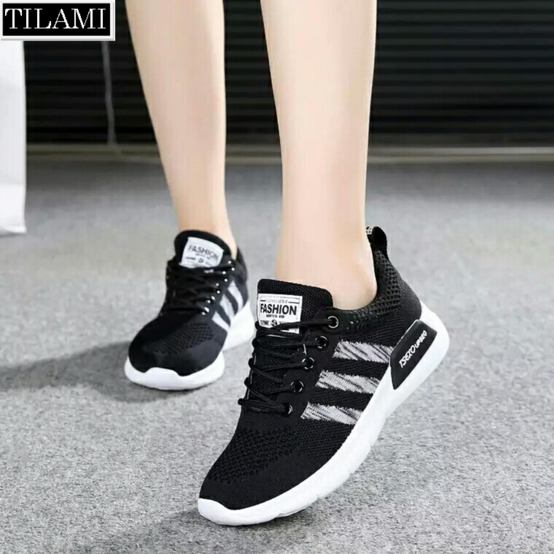 Giày Sneaker nữ sọc chéo Tilami – 3SC01 (đen, đen sọc đỏ)