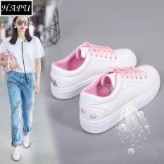 Giày sneaker nữ thêu mèo dễ thương (tùy chọn: trắng đen, trắng hồng, trắng xanh)