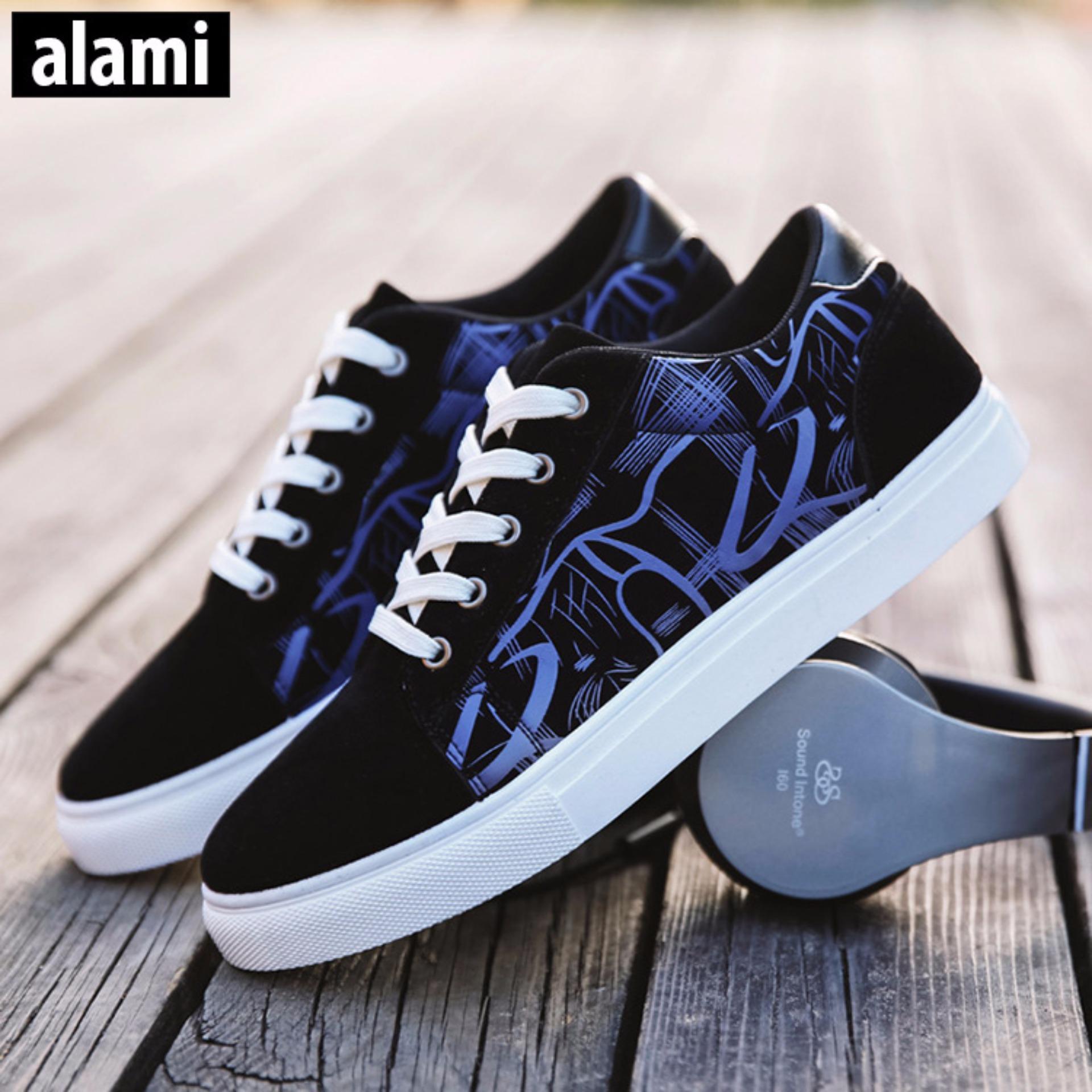 Giày Sneaker Thời Trang Nam Alami GTT343 ( Đen Xanh)