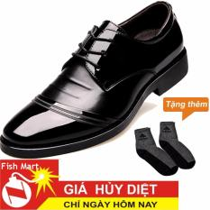 Giày Tây Nam Da Cột Dây FMART MT004656A ( Đen) cao cấp + Tặng 01 Đôi Tất Da Chân Chống Nóng, Kháng Khuẩn ( Nhiều Màu)