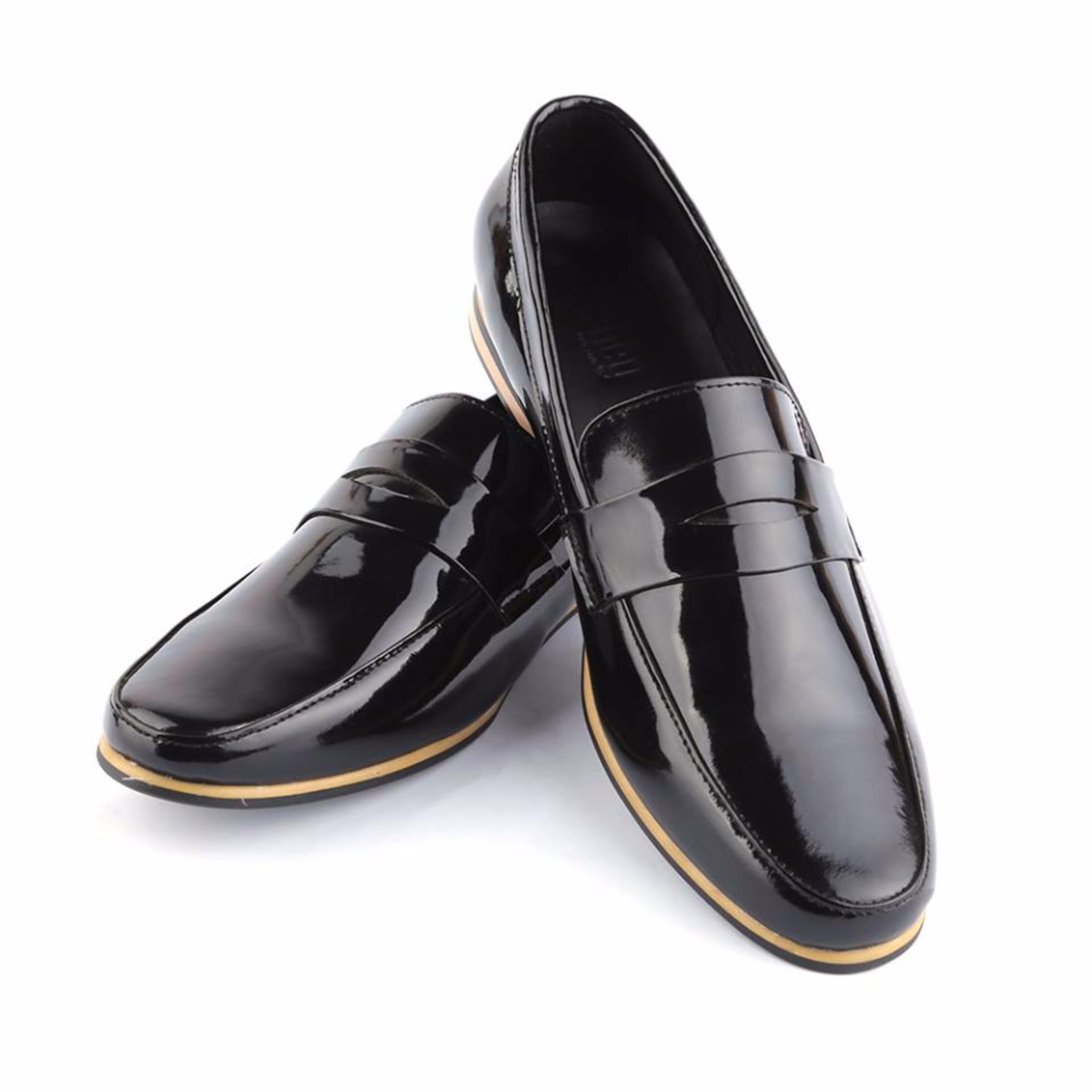 Giày tây viền cao đen da bóng Journey 37DB