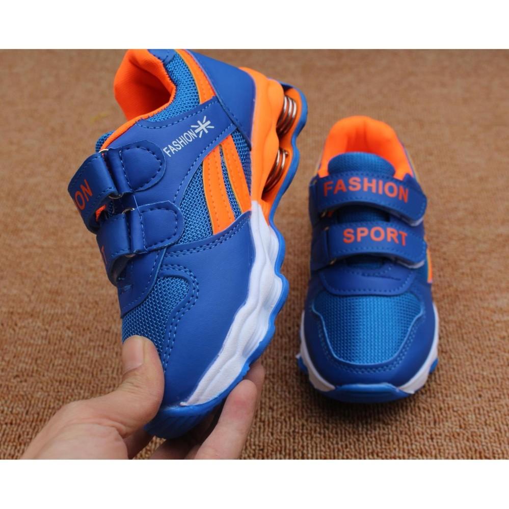 Giày thể thao cho bé – Size 26 đến 36 – Fashion sport – blue lót cam