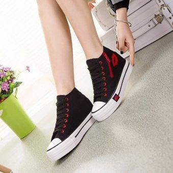 Giày thể thao đế tăng chiều cao 6 cm cổ cao họa tiết trái tim TT55 (Đen) - 2