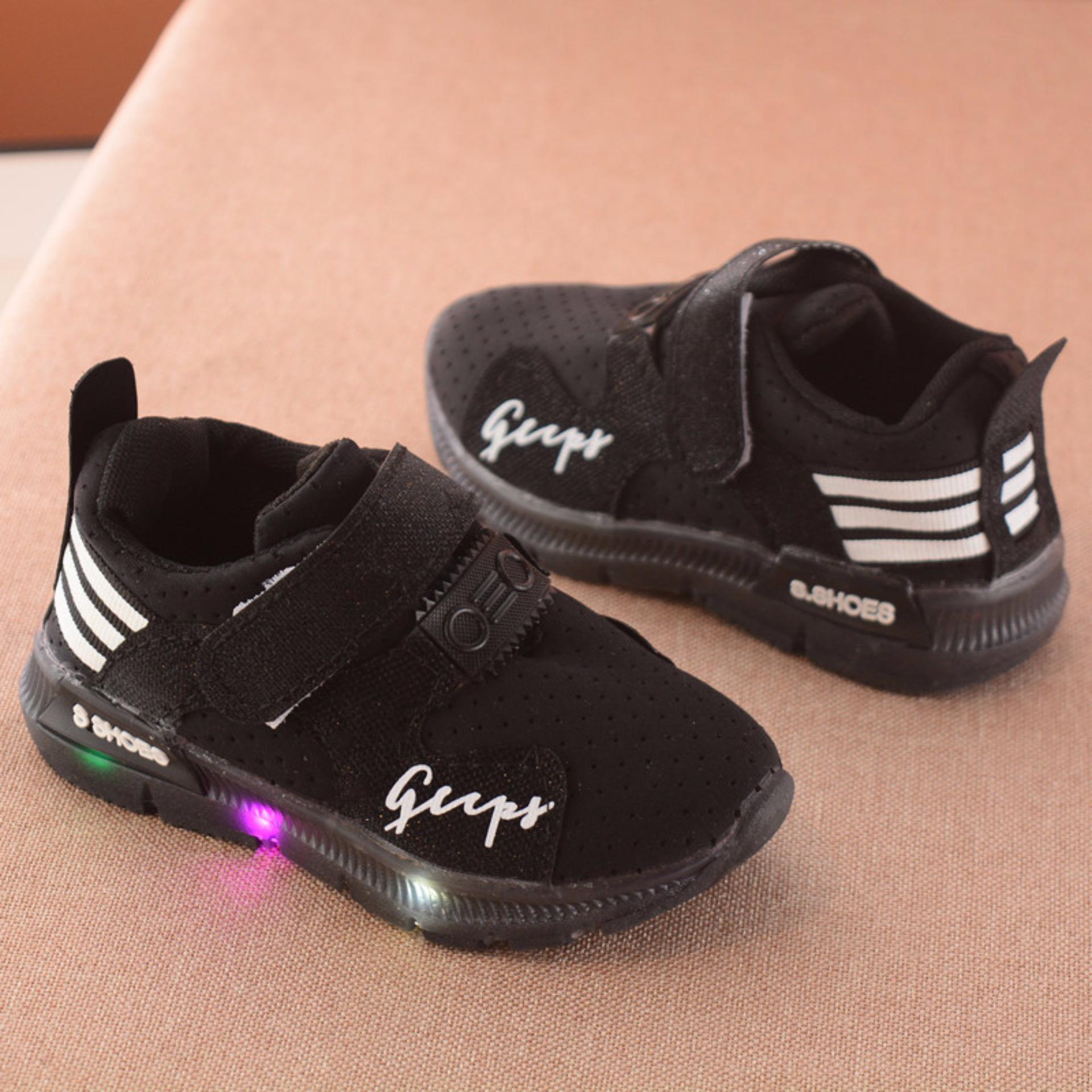 Giày thể thao siêu nhẹ cho bé – Size 21 đến 30 – gupy – đen – đèn led