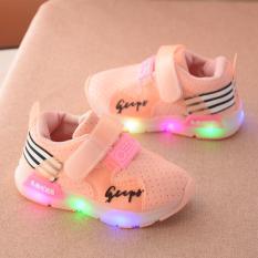 Giày thể thao siêu nhẹ cho bé (có ảnh thật) – Size 21 đến 30 – gupy – hồng đèn led