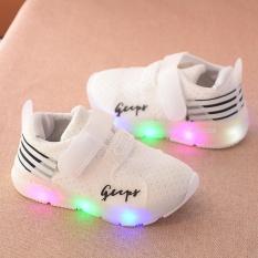 Giày thể thao siêu nhẹ cho bé (có ảnh thật) – Size 21 đến 30 – gupy – trắng – đèn led