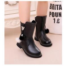 Giày trẻ em boot ống tua rua lông SC015 (Đen)