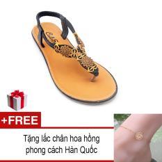 Giày xăng đan Lopez Cute D18 (Đen) + Tặng lắc chân hoa hồng Hàn Quốc