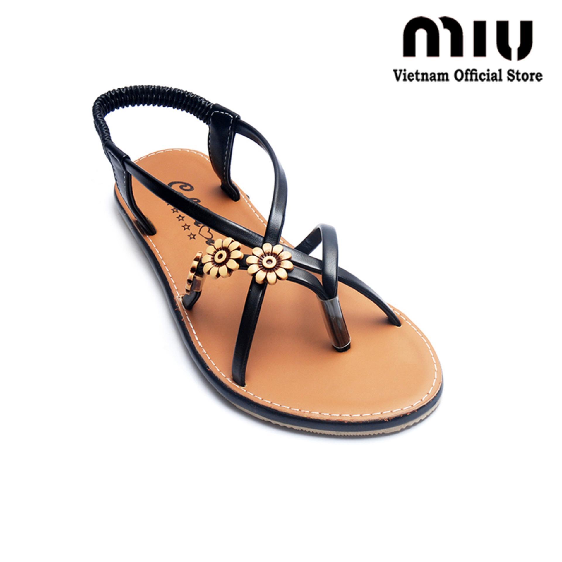 Giày xăng đan quai họa tiết MIU GD53 (Nâu Đen)