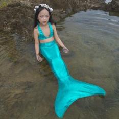 Cô gái của Nàng Tiên Cá Bơi Đồ Bơi Trẻ Em Bơi Trang Phục 3in1 Bộ (Đầu + Đuôi + tặng Monofin)-quốc tế