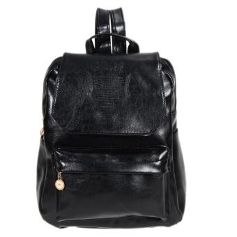 Girls PU Leather Backpack (Black) - intl