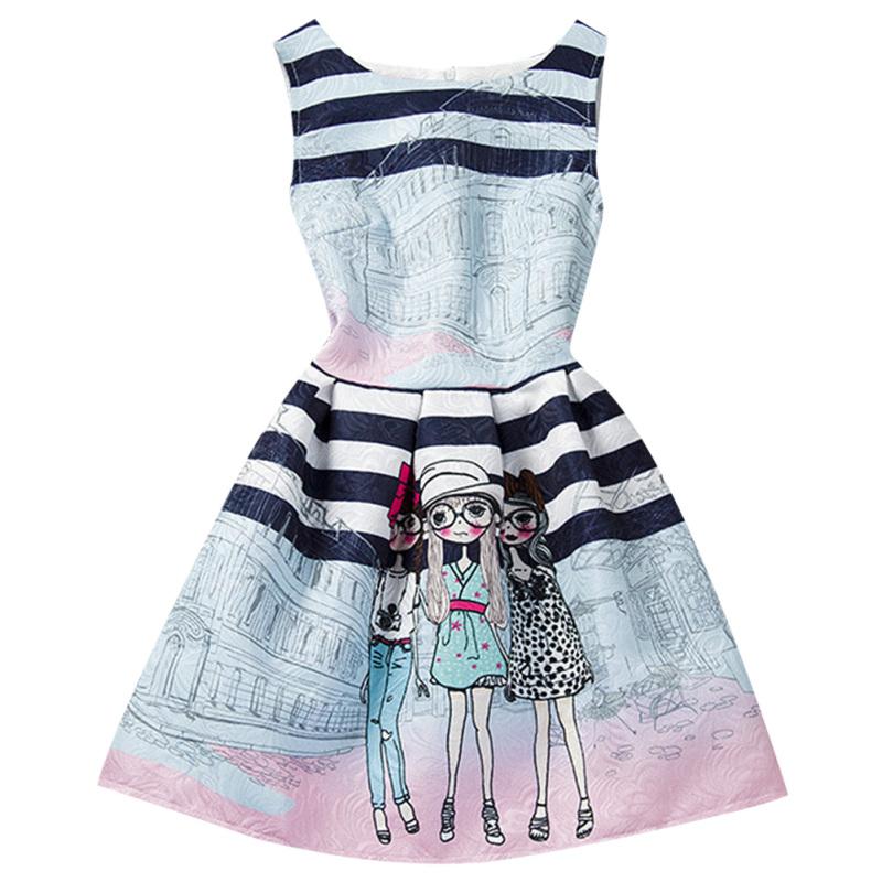 Giá bán Girls Summer Style Sleeveless Printed Dress