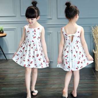 Girls Sweet Cotton Princess Dresses Cherry Flowers Dresses -White - intl