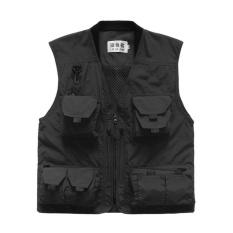 TỐT Mùa Xuân Nam Mùa Hè Câu Cá Ngoài Trời Áo Vest Nhiều túi Chụp Ảnh Lưới Áo Vest đen-quốc tế