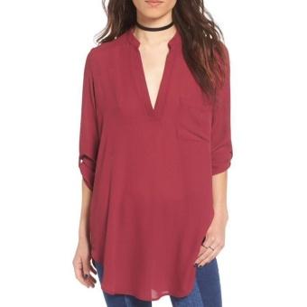 Hang-Qiao Ladies V-neck Chiffon Blouse Casual Solid Shirts (Burgundy) - intl