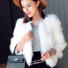 Giá Sốc Hequ Women Faux Fur Jackets Coat For Women Winter Natural Rabbit Fur Faux Fox Short Style Outwear Hairy Coat White – intl