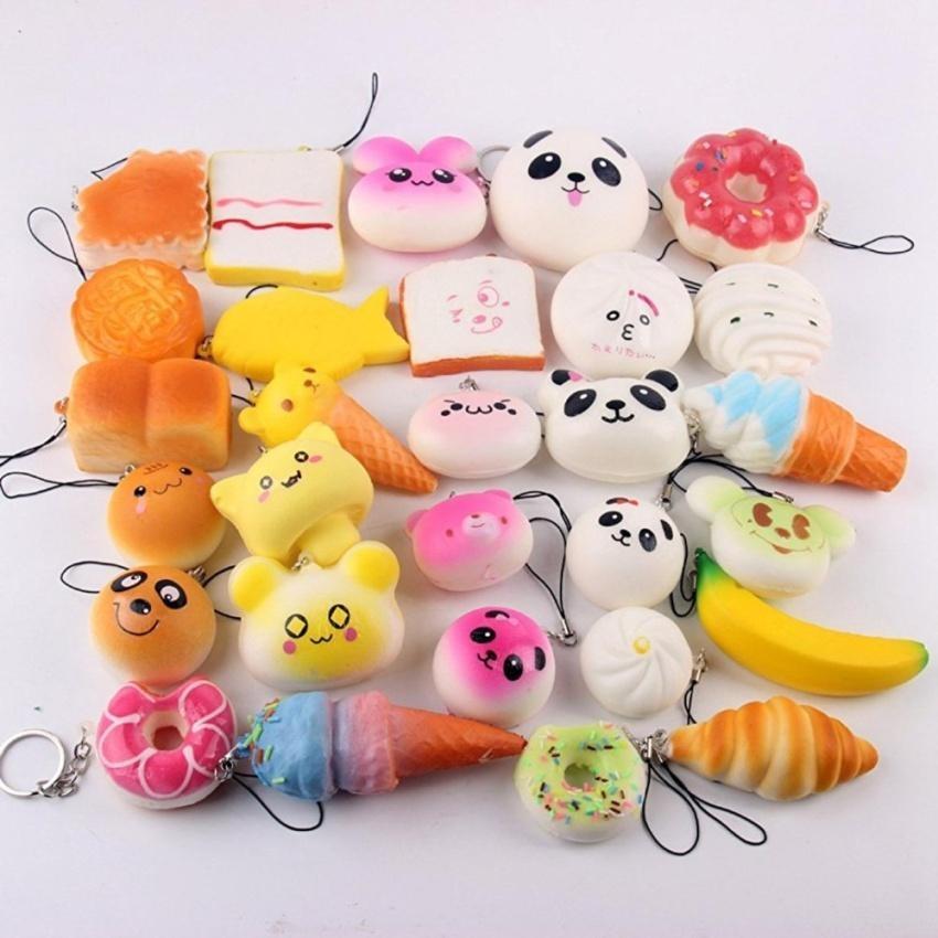 ... HLY 10 Pcs Kawaii Mini Squishy Soft Simulated Food Panda Bread Cakebuns Pendants Key Rings Keychains ...
