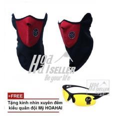 Hình thu nhỏ Khẩu trang ninja đi phượt HOAHA (đỏ) + Tặng kèm kính xuyên đêm