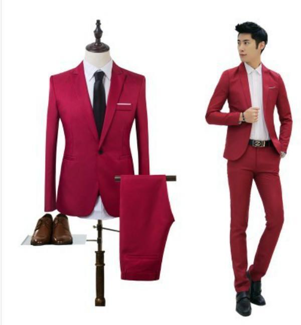 Korean Style Men Business Suits Set Formal Suit&Pants Mens Slim Fit Suit and Suit Pants Casual One Button Suit and Trousers – intl