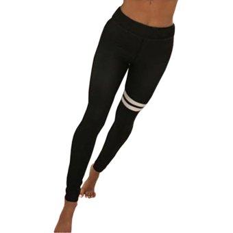 Kuhong Women Stripe Printing Black Yoga pants - intl