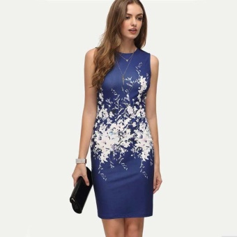 LALANG Women Sleeveless O-neck Bodycon Print Mini Dress (Blue) -intl