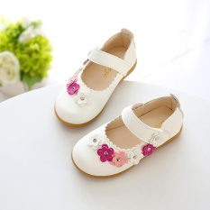 LCFU764 Fashion Children Kids Girls Princess Shoes Comfortable and Soft Flower Dance Shoes-white – intl