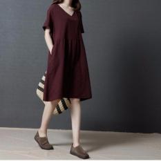 Rời Đầm Maxi Plus Kích Thước Rắn Nữ Túi Cổ Chữ V Tay Ngắn Tartan Dài Đầm Linen Váy Bầu Flok Phong Cách Bohemian Váy- quốc tế