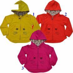 M353 – Áo khoác mũ nỉ da cá thêu mèo, bé gái, hiệu AP, màu cam, size 1 T
