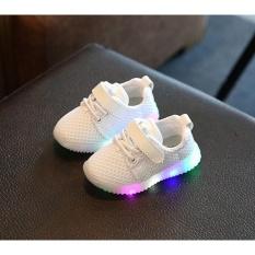 Makiyo Trẻ Em Bé Trai Bé Gái Giày ĐÈN LED Phát Sáng Dạ Quang Trẻ Em Huấn Luyện Viên Giày thể Thao Sneaker (Trắng) -quốc tế