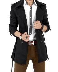 Men 's Winter Slim Double Breasted Trench Coat Jacket Outwear (Black) – intl