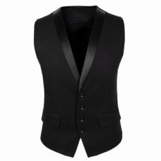 Men Slim Single Breasted Suit Vest (Black) – intl
