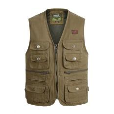 Áo khoác gile không tây cho nam vải Cotton nhiều túi hộp tiện dụng cho nhiếp ảnh gia, câu cá màu vàng quân đội-quốc tế