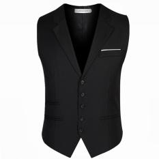Men's Suit Vest Business Waistcoat Coat (Black) – intl