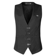 Giá Tốt Mens Black Single-breasted V Neck Slim Fit Casual Formal Vest – intl Tại Five Star Store